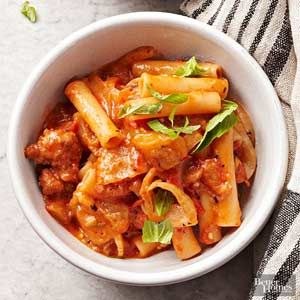 Eggplant, Fennel, and Sausage Slow Cooker Baked Ziti