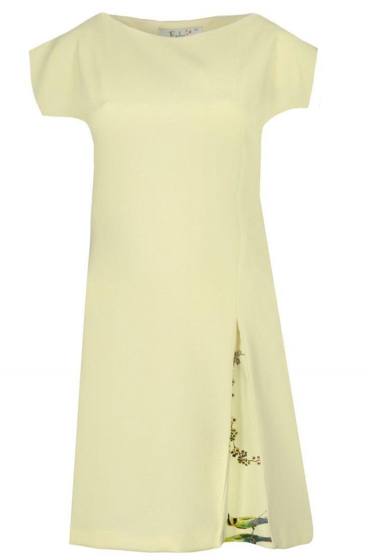 Sukienka dzienna Żółty. Luźna, lekko asymetryczna sukienka wkładana przez głowę. Wykonana z doskonałej jakości tkaniny, która się nie mechaci ani nie gniecie. Ozdobiona kontrafałdą. #modadamska #sukienkiletnie #sukienka #suknia #sklepinternetowy #allettante