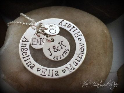 Family Necklace  Hand Stamped Family Heirloom  by thecharmedwife, $68.00
