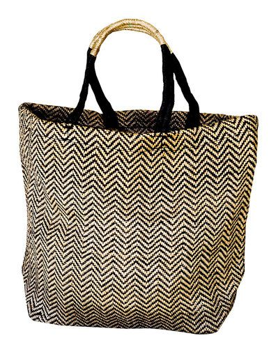 Jute Shopper - Black Herringbone