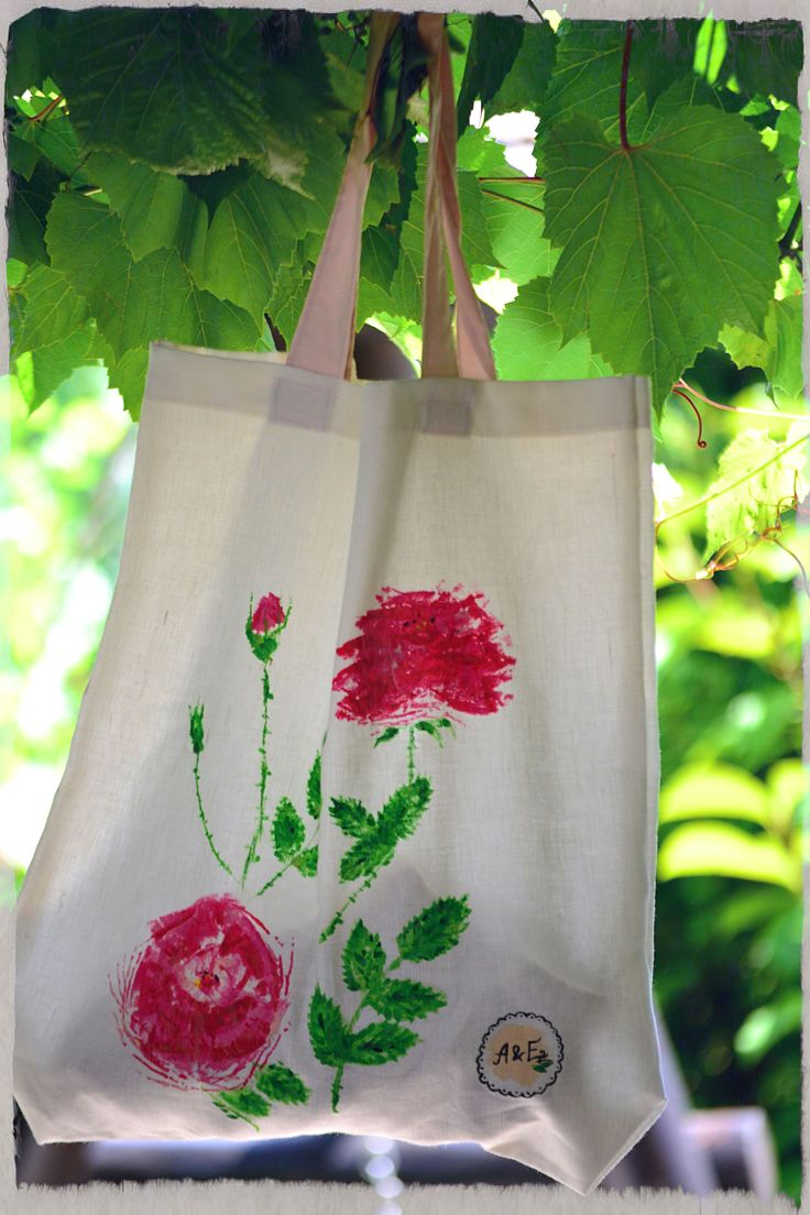 Hand painted textile bag - roses