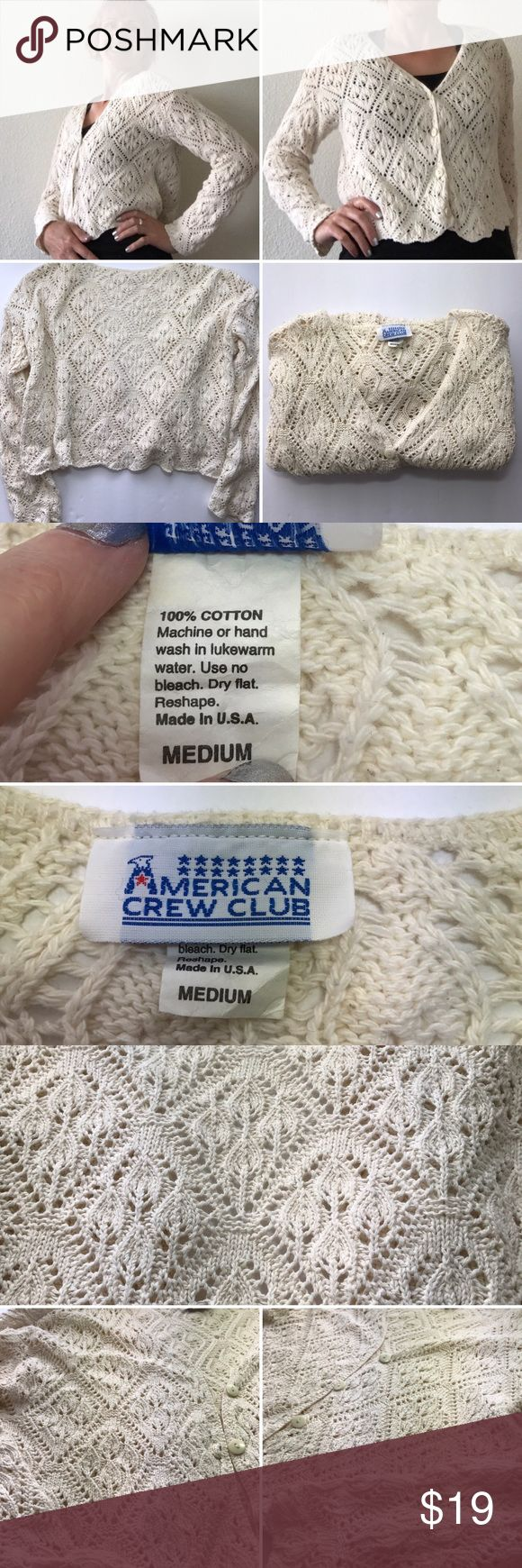 American crew club cardigan Beautiful cream colored crocheted cardigan I American crew club. Please see all photos and tags for size, materials and washing instructions.🚭 American crew club Sweaters Cardigans