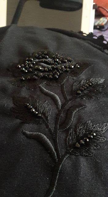 جلابة باللون الأسود بالراندة والطرز من تصميم ساره عمران من تصميم ساره عمران صور الراندة معلمة الراندة