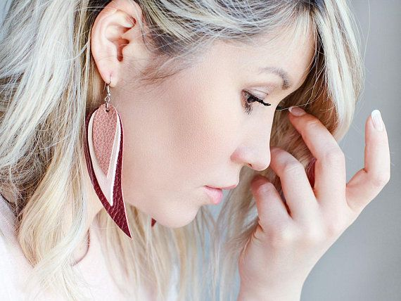 Dark red light pink and pink Feather Leather Earrings