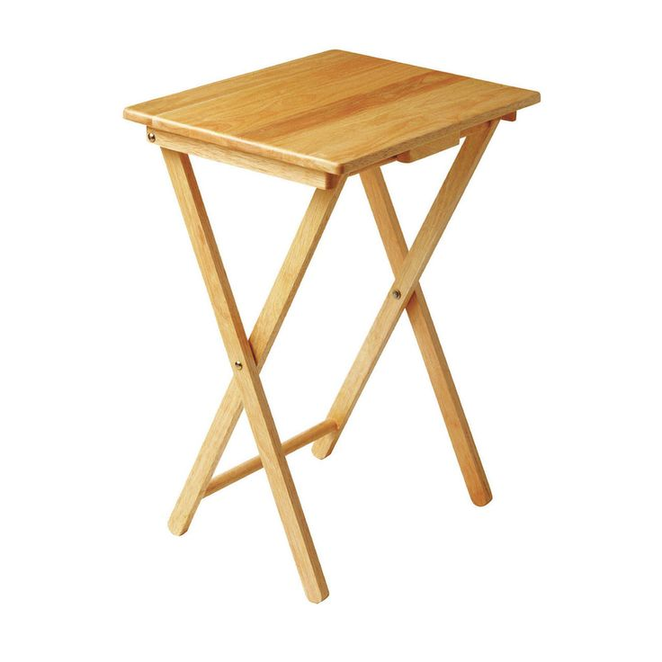 Snack Table, Solid Natural Tropical Hevea Wood