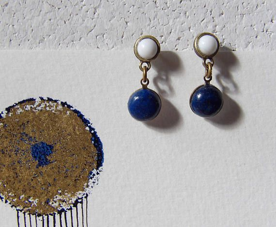 Blue and White Brass Earrings Minimal Navy Jewelry Ariadne