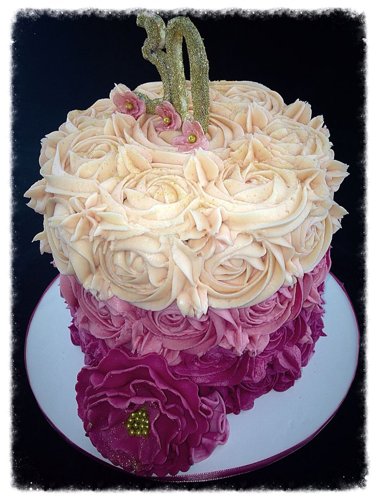 30th birthday ombre pink buttercream rose swirled cake ...