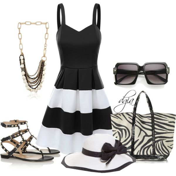 """""""Summer in white and black"""" by dgia on Polyvore"""