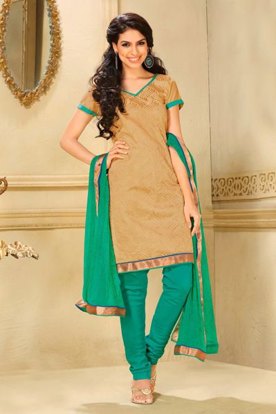 USD 46.42 Brown Cotton Churidar Salwar Kameez 29555