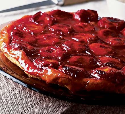 Plum & marzipan tart tatinIngredients  25g butter 25g golden caster sugar 800g firm plums, not too ripe, halved and stoned 100g golden marzipan 40g ground almonds 500g packet puff pastry, thawed if frozen pouring cream (single or double), to serve