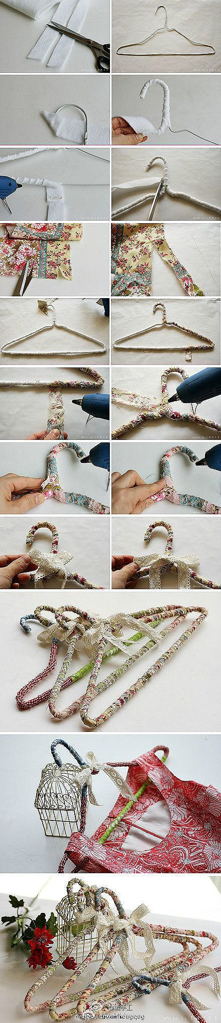 DIY: Shabby Hangers: Simple handmade fabric wrapped hanger with fabric strips-no link.
