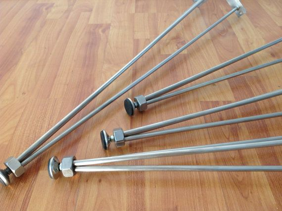 "$160 + ship. 35"" Table Legs Stainless, 3-Pins table legs, Rod 8 mm, STAINLESS STEEL, Height 31 "" to 35"" SET(4)"