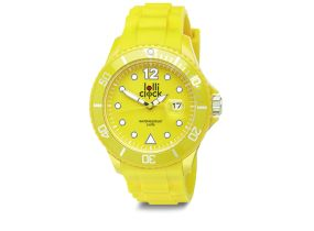 Yellow Lolliclock Watch with Date. 44mm Polycarbonite case and silicon  strap, printing dial up index, 5ATM 3 hands date movement PC32. Buy online at www.lolliclock.com.au