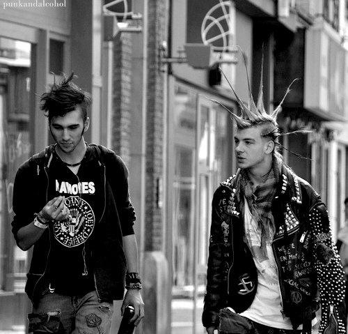 Two male punks walking, The Ramones, mohawk