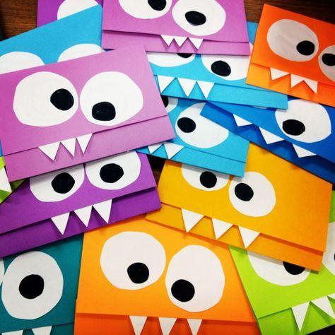 Monsterparty Kindergeburtstag einladung-basteln-farbiges-papier