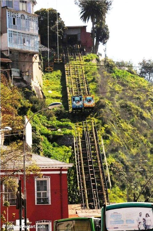 Eyes on crossing cable cars in Valparaiso, Chile. Very smart!