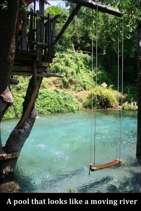 Here's a unique pool that was designed to look like a moving river.