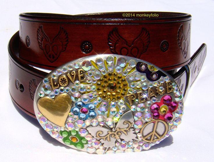 Leather belt - Hippie - Cherry Red
