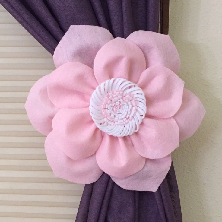 Brand new creation: baby and pink flower curtain tiebacks!
