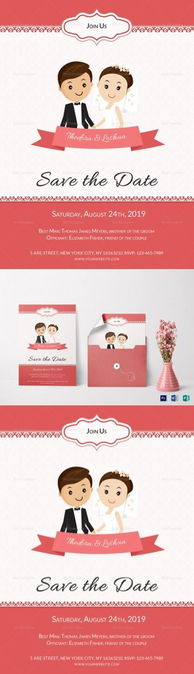 Unique Wedding Invitation Card Template $12 - high quality, printable wedding invitation template with cartoon characters   Formats Included :MS Word, Photoshop, Publisher