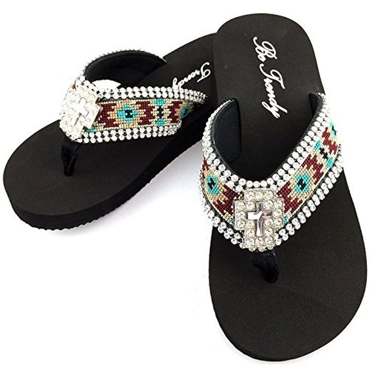 Western Peak Women's Aztec Design Full Rhinestones Cross Concho Maroon Turquoise Beige Flip Flop Sandals (M (7-8)). Beautiful Western Flip Flop. Rhinestone Filled Cross Concho. Beautiful Aztec Embroidery.