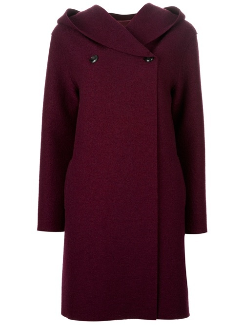 Plum virgin wool hooded coat from Harris Wharf London featuring long sleeves, off centre closure with two large black buttons.