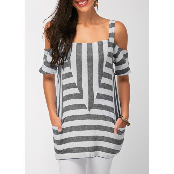Style:Casual. Sleeve's Length:Half Sleeve. Pattern Type:Striped. Clothing's Length:Long. Material:Polyester.