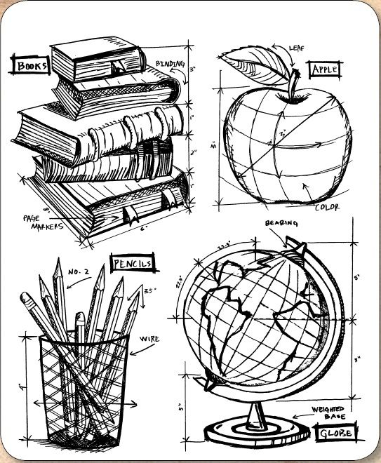 *PRE-ORDER* Stamper's Anonymous / Tim Holtz - Cling Mounted Rubber Stamp Set - Schoolhouse Blueprints