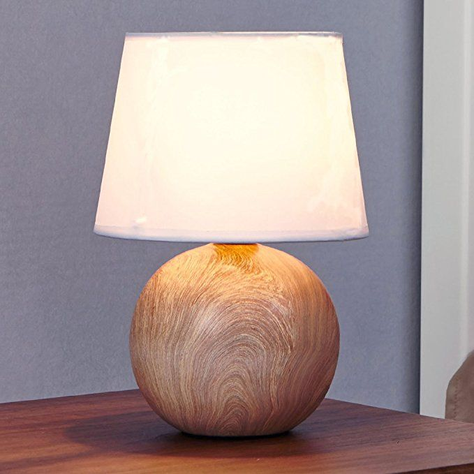 Ikebana 10 62 Inches White Fabric Ceramic Small Wood Bedside Table Lamp Durable Round Table La Bedside Table Lamps Wood Wood Bedside Table Bedside Table Lamps