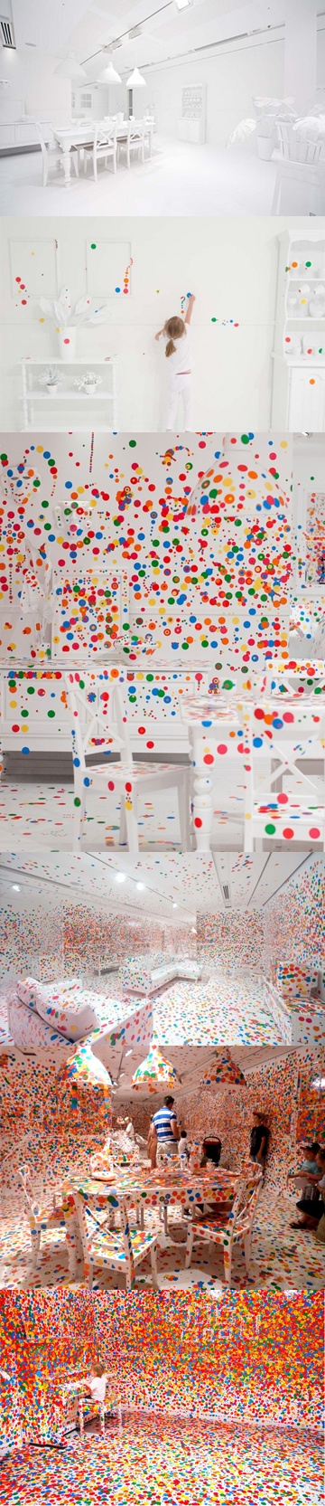 """the Obliteration Room"" - Yayoi Kusama -   Over a two-week period, the museum gave its young visitors stickers and let them decorate the all-white room. Here's what happened..."