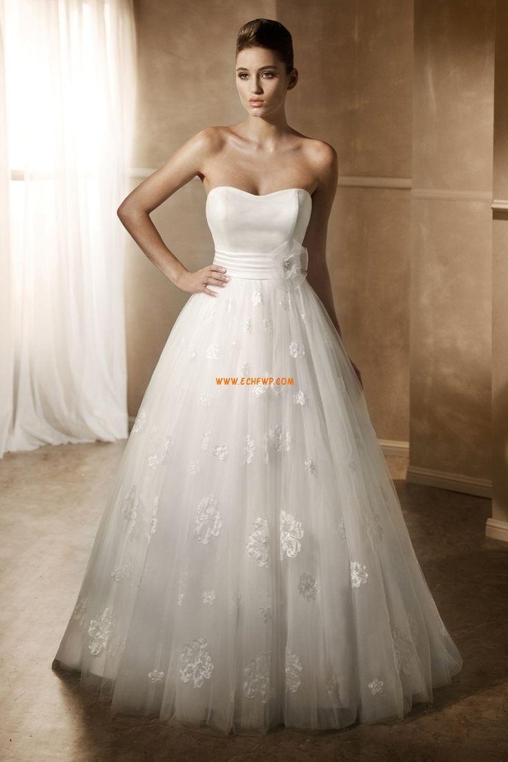 Chapel Släp Hjärtformad Vår Lyx Bröllopsklänningar