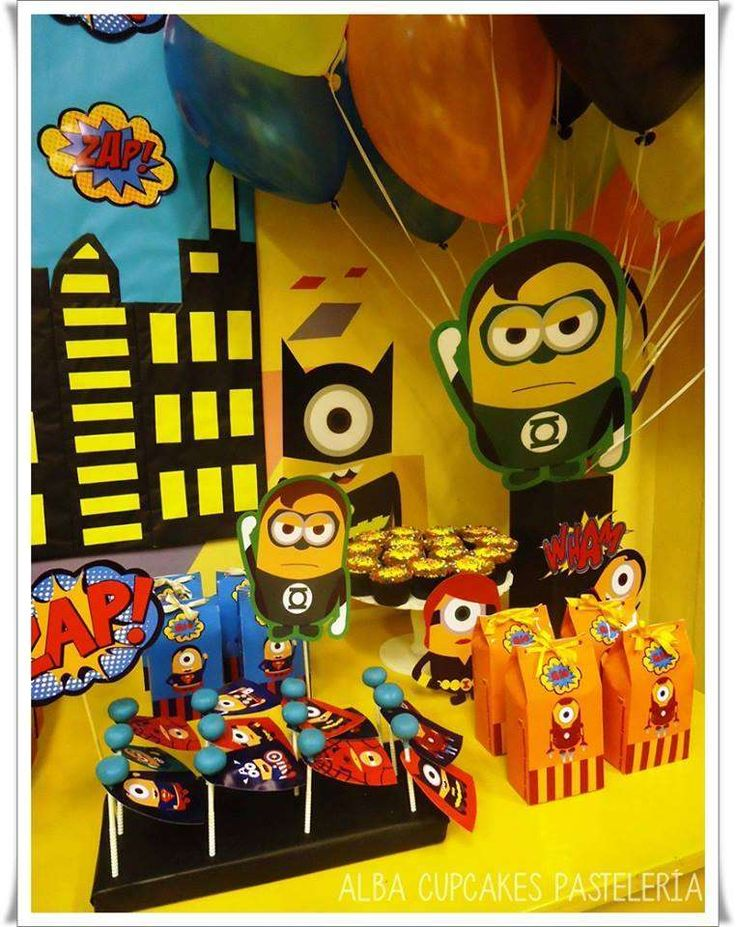 Fun treats at a Minions superhero birthday party! See more party planning ideas at CatchMyParty.com!