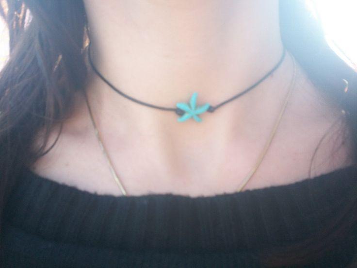 Turquoise Starfish Choker, Black Cord, Minimalis Design, Delicate Chocker, Dainty Necklace, Everyday Chocker, Everyday Jewelry, Gift under 5 by BluePinkJewelry on Etsy