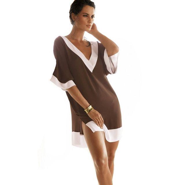 Vestido Verao 2016 Ocasional Com Decote Em V Chiffon Mulheres de Verão Vestido de Praia Boho Vestido de praia encobrir