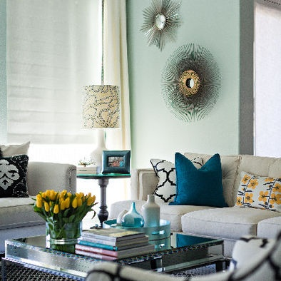 Living Room Yellow Gray Turquoise Design, Pictures, Remodel, Decor And  Ideas   Page