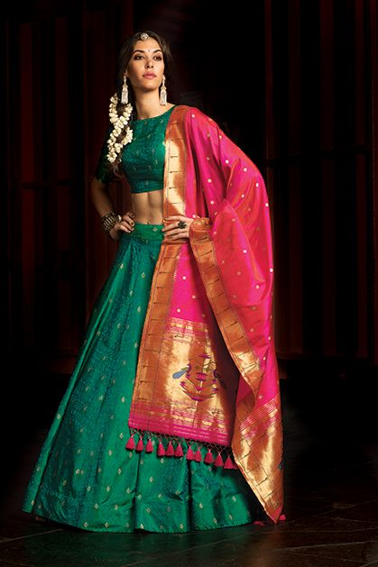 W17-52 - Pure jamawar silk lehenga choli with contrast silk paithani dupatta