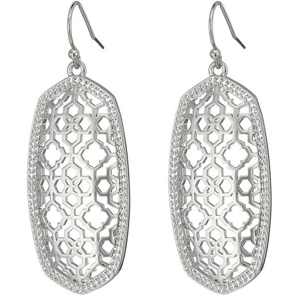 Kendra Scott Elle Earring (Rhodium Filigree Metal) Earring ($60) ❤ liked on Polyvore featuring jewelry, earrings, rhodium earrings, iridescent jewelry, filigree earrings, kendra scott and metal earrings