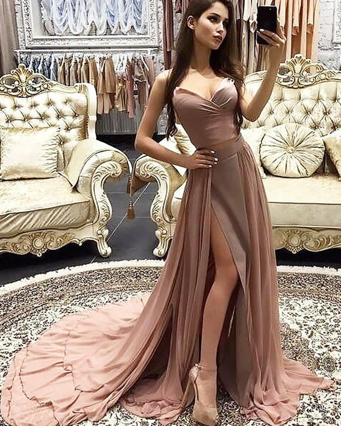 a12d1d067b44 long blush pink formal dress with detachable skirt, slit chiffon prom dress