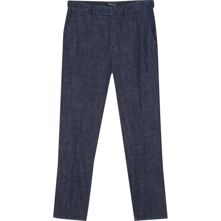 pantalon jamy denim pantalon droit avec ceinture à passants fermée par agrafe et bouton sous patte décalée.