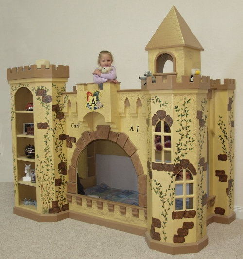 Castle Bunk Bed w' Bookcases and Crackle Paint Finish