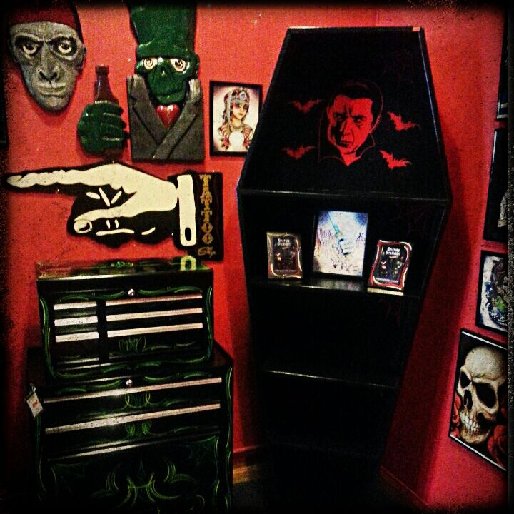 Scary Apartment: Coffin BookCase Www.spitfireinteriors.com