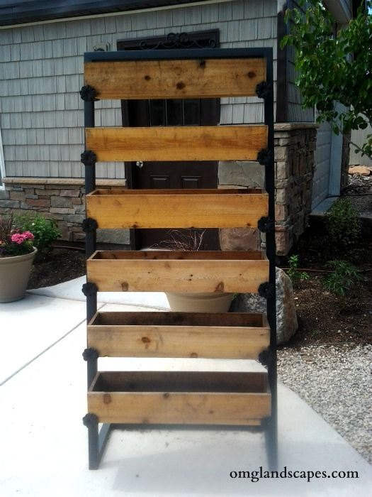 Steel frame wooden planter box things to do w my new for Vertical planter boxes