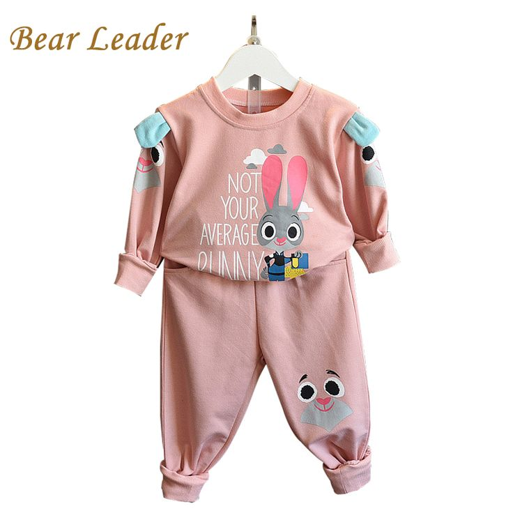 s  Winter Style Girls Clothes Kids Sportswear Cartoon Cute Rabbit Sweatshirts+Pants 2pcs Suits
