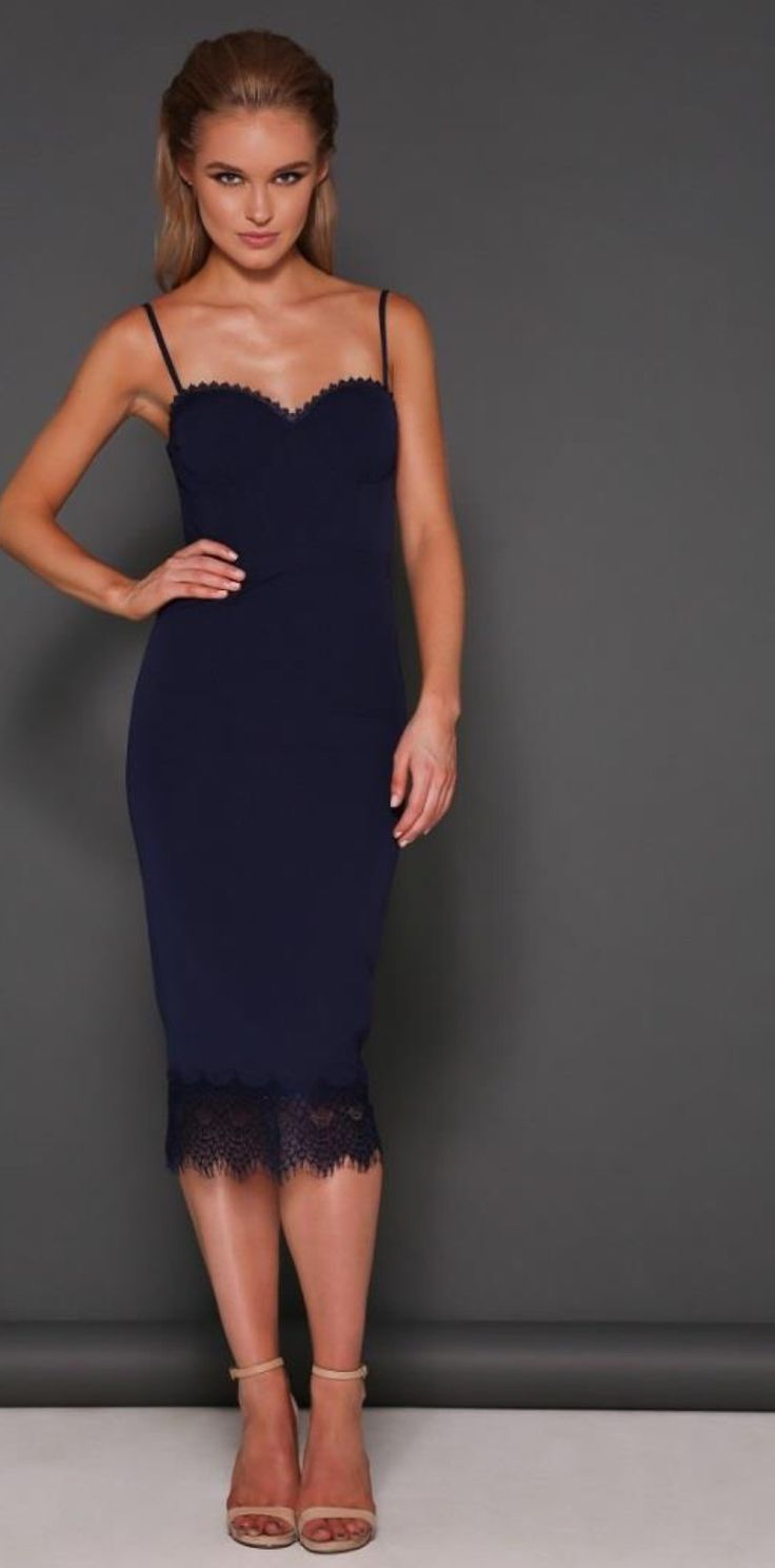 Navy knee length cocktail dress  Designer- Elle Zeitoune
