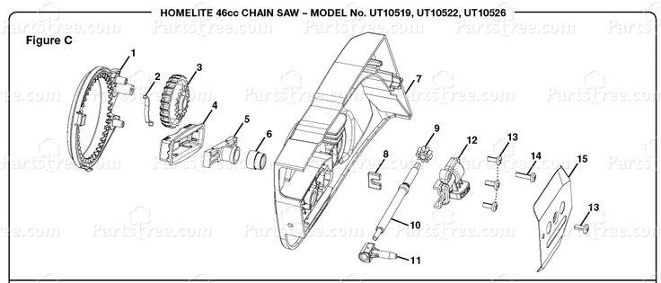 Homelite UT-10519 - Homelite Chainsaw, 46cc Figure C Diagram and Parts List | PartsTree.com