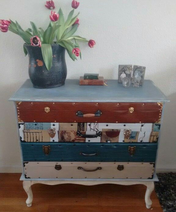 Old suitcases chest of drawers. For sale at Dress it up