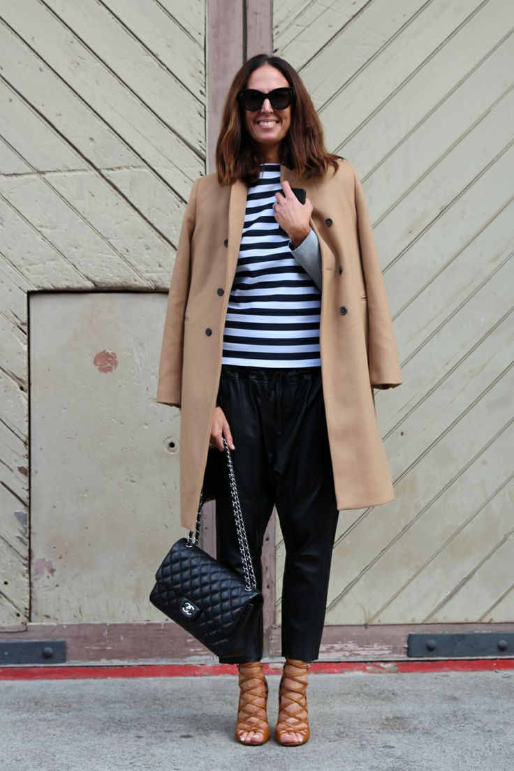 Leather pants, stripes and tan sandals