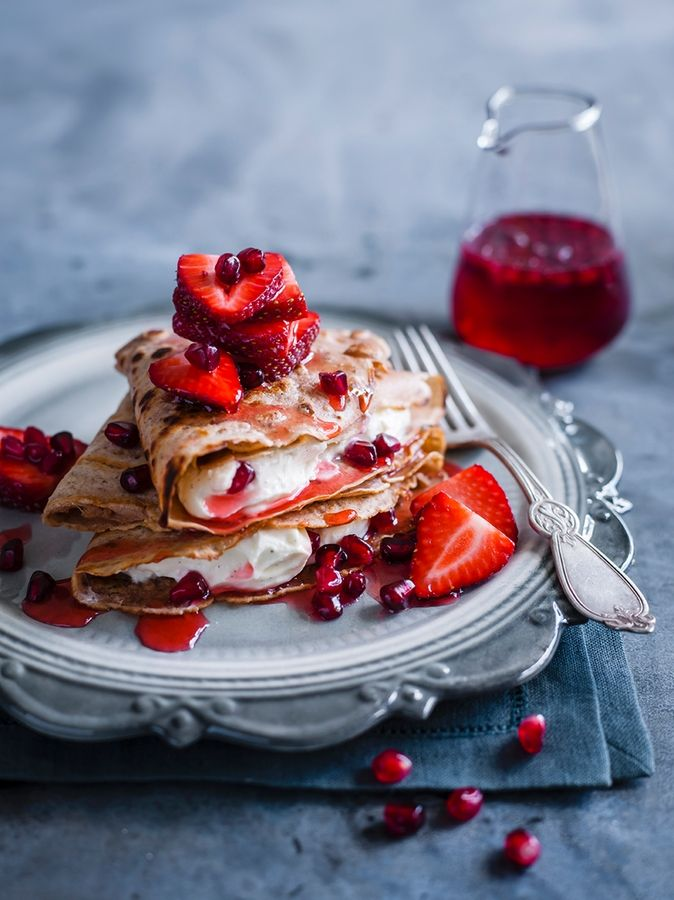 Crepes With Pomegranate and strawberries