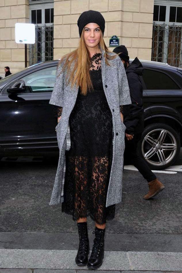 Bianca Brandolini D'Adda Paris Street Style -- Beanie Hat, Black Lace Midi Dress & Combat Boots. This is too good