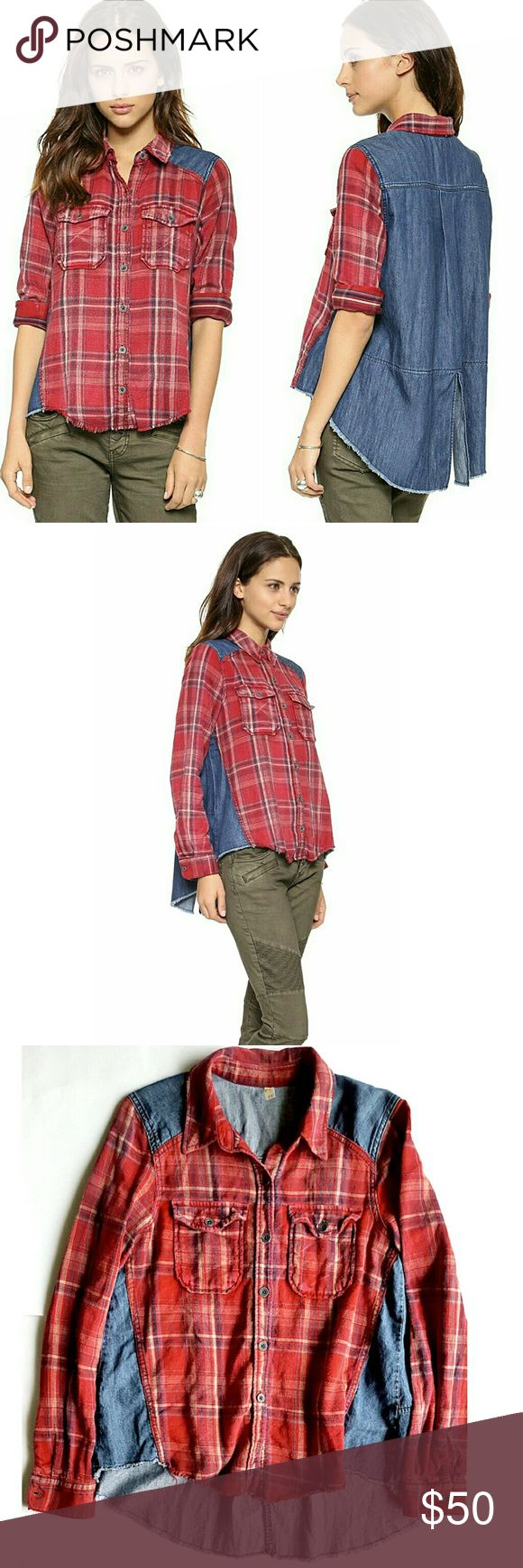 """Free People Road trip Gataway Button Down Shirt Yarn-dyed flannel with denim contrast detail on the shoulders and back panel defines a collared shirt further styled with front flap pockets and a raw-edge hemline. 16"""" shoulder to shoulder, 18.5"""" pit to pit, sleeves are 24"""" long.  In excellent LIKE NEW condition. Free People Tops Button Down Shirts"""